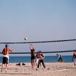 Group playing beach volleyball