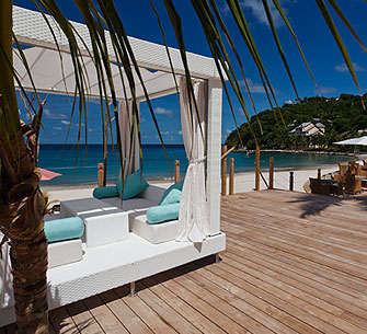 One of the new cabanas by the beach
