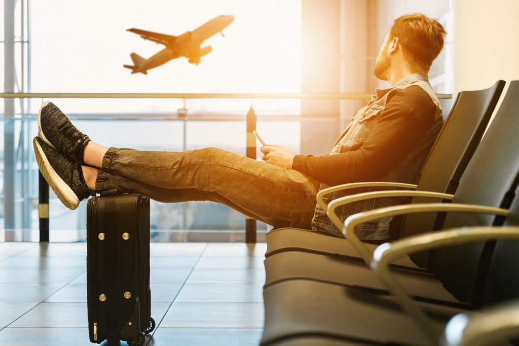 Man sat in airport