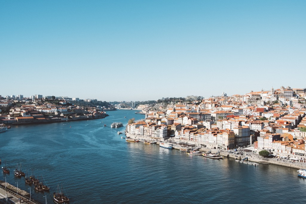 Portugal river and city landscape